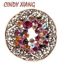 CINDY XIANG 3 Colors Rhinestone Vintage Fashion Round Circle Brooches For Women Coat Pins Shining Luxury Autumn Brooch Good Gift