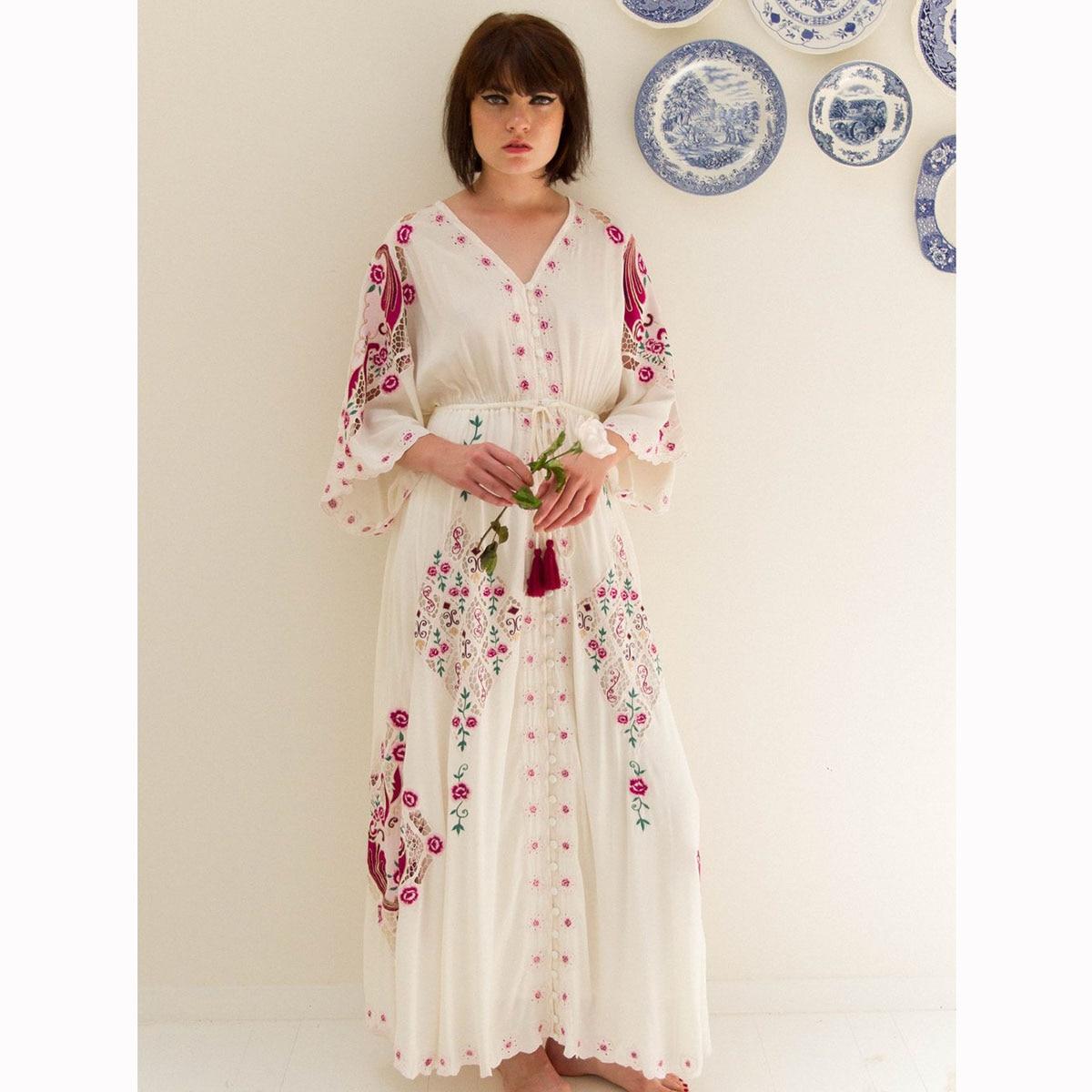 Ethnique Floral Maxi robe pour femmes 3/4 Manches Flare à manches longues Chic robes lâches Dames 2019 D'été Boho Plage Hippie conduites de carburant