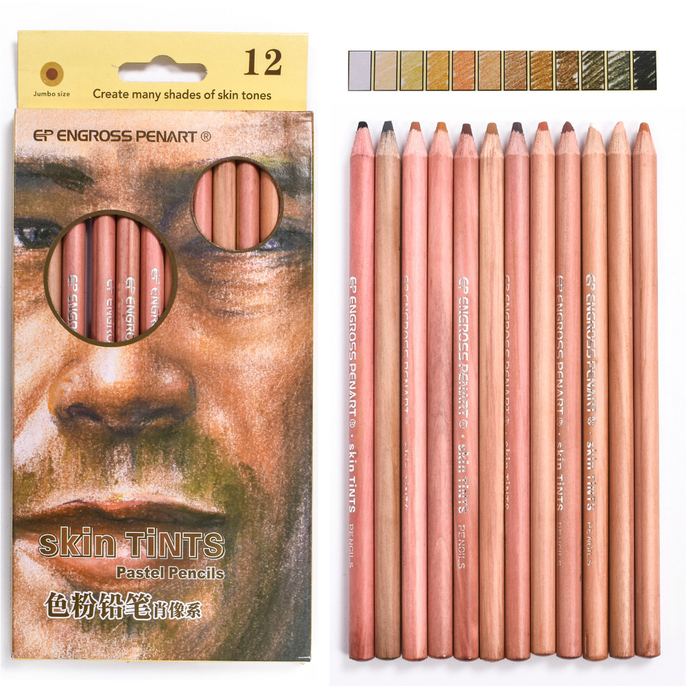 12 Colors Professional Drawing Pencils Set Soft Pastel Skin ...