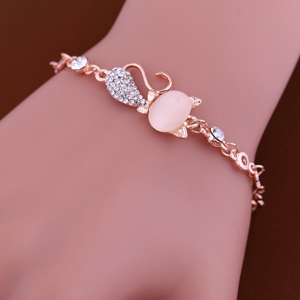 Lovely Cat Pendant Women Ladies Opal Rhinestone Bangle Bracelet Chain Jewelry