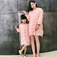 c54aabe0f734f 2019 Fashion Family Matching Clothes Mother Daughter Dresses Women Tassel  Dress Baby Girl Mini Dress Mom