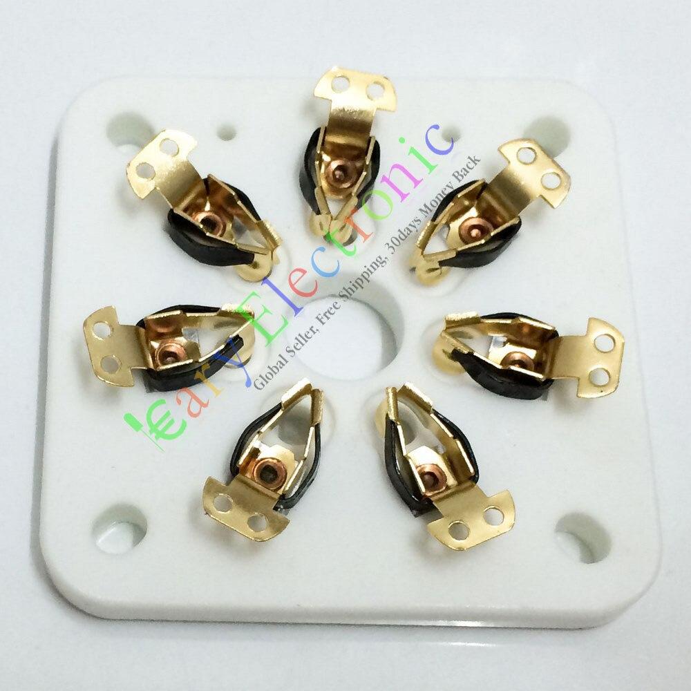 Оптом и в розницу 60 шт. 7pin ЗОЛОТО Керамическая вакуумная трубка гнездо для 813 FU-13 4B27 5-125Б 8001 ампер бесплатная доставка