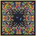 Sarga de Seda Bufanda de Las Mujeres de la manera 130*130 cm Euro Design Colores Aves Imprimir Bufandas Cuadradas de Regalo de Alta Calidad Grande Chal de seda