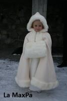 Customize Long Hooded girl fur cape infant formal princess loading cape baby plush cloak kids gril party cloak Fur coat Boleros