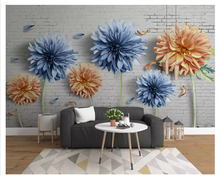 beibehang Modern fashion wall paper simple 3D personality brick nostalgic chrysanthemum Indoor TV background 3d wallpaper behang