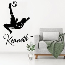 Wall Decal Custom Personalized Name Kids Bedroom Decor Art Football Player Vinyl Sticker DIY Removable Wallpaper Poster WW-169 wall decal luis suarez football player star bedroom living room decal wall art sticker removable fashion interior decor ww 36