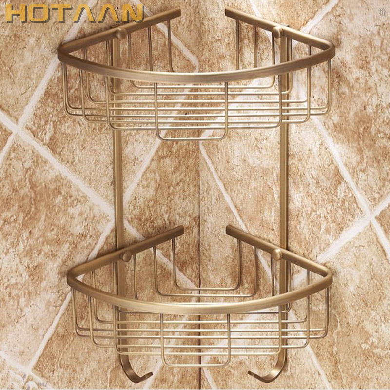 Free Shipping Wall Mounted Antique finish brass Bathroom Shower shampoo Shelf Basket Holder Fashion Double Layer YT7006