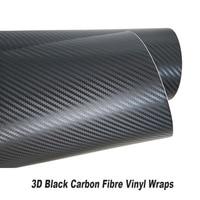 car styling 3D black Carbon Fiber Vinyl film black Carbon Fiber Vinyl Film Auto Wrapping Vinyl Foil 5ft X 98ft/Roll wholesale