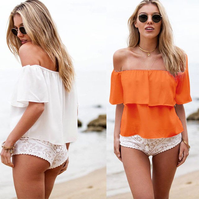 Nouveau Femmes Filles Encolure D'été Mousseline de Soie Sans Bretelles Off Épaules Haut Occasionnel Mince Solide Tops T-Shirt