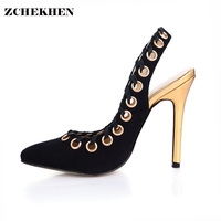 Women Shoes 2017 Chaussure Femme Zapatos Mujer Valentine Straps Rivets Shoes Women Pumps High Heels Ladies