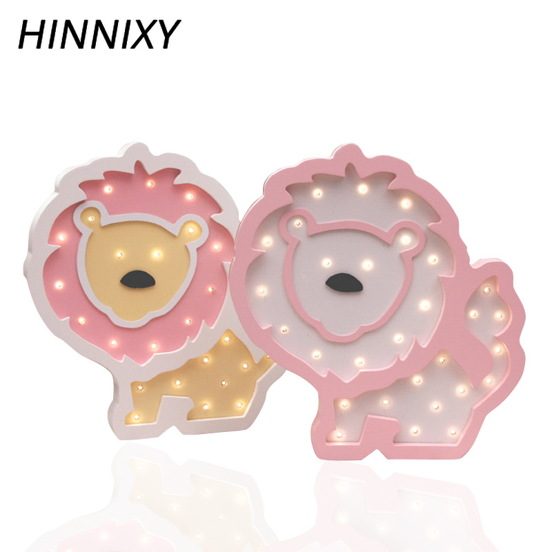 Hinnixy Animal Lion Night Lamps Cute Wooden Bedside Table Desk Lights Home Decoration Light Fixtures Baby Favorite Toy Luminaria