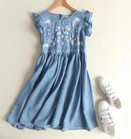 Ruffled Embroidery Flowers Summer O Neck Mori Gir Denim Dress Mori Girl