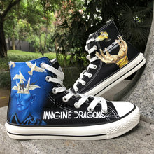 37482708af968d Wen Design Custom Hand Painted Sneakers Imagine Dragons Smoke + Mirrors Men  Women s High Top Black Canvas Shoes