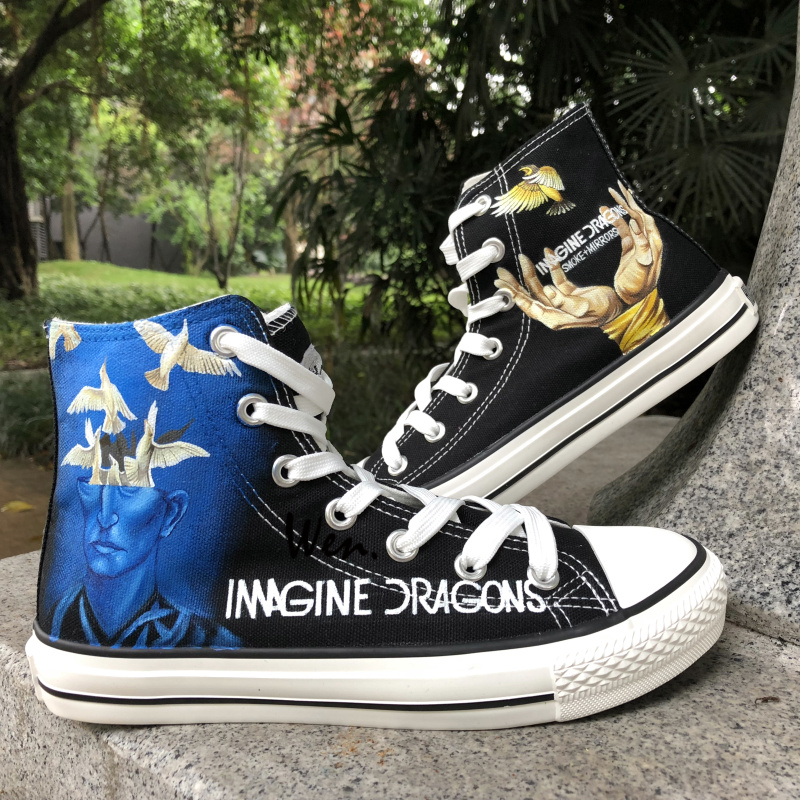 999b6950c349a Wen Design Custom Hand Painted Sneakers Imagine Dragons Smoke + Mirrors Men  Women s High Top Black Canvas Shoes