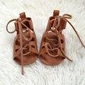 Bronceado Zapatos Infantiles Zapatos de Bebé de Cuero Genuino Gladiador