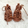 Tan Genuine Leather Infant Shoes Baby Gladiator