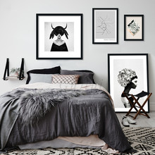 Nordic Flowers Lady Canvas Painting Modern Living Room Frameless Decorative Black White Gothic Woman Wall Pop Art Poster Decor