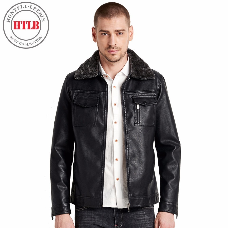 HTLB 2017 New Arrive Autumn Winter Brand Motorcycle Leather Jackets Coat Men Casual Fashion Faux Collar Pocket Leather Coat Male-in Faux Leather Coats from Men's Clothing    1