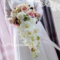 Rose Bouquet de Noiva Em Cascata de mariage Queda De Seda Flores De Noiva Cachoeira parágrafo casamento dama de honra buque boeket trouwen