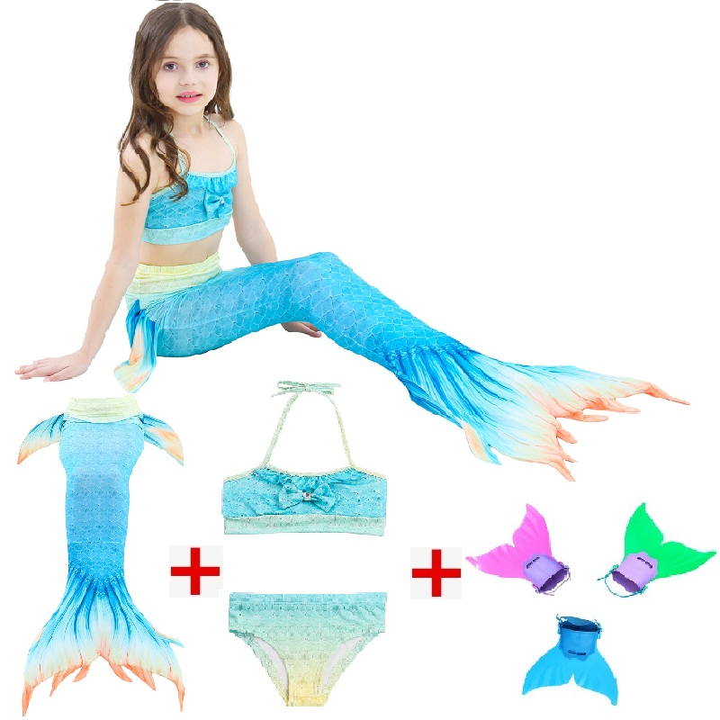 2019 NEW! Cosplay Kids Mermaid Tail with Monofin Girls Costumes Swimmable Swimsuit with Child's Wear Split Swimsuit Bikini