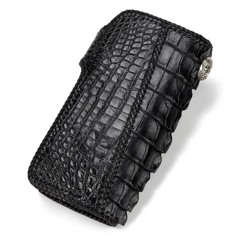 D'embrayage Hommes Véritable Alligator Sacs Porte En À Main La Noir Sac Portefeuille Tannage Végétal Tricoter cartes Portefeuilles De Cuir kXn08wOP