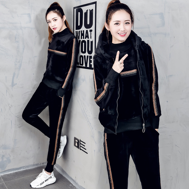 women tracksuit sportswear winter fleece velvet thick hoodies sweashirt+vest+pants running jogging leisure set sports warm suit эллиот расти гарольд xml справочник
