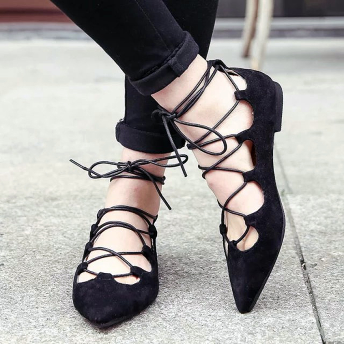 NEW Fashion Woman Flats spring summer Women Shoes top quality strappy women sandals suede Pointed Toe Gladiator Ballet Pumps plue size 34 49 spring summer high quality flats women shoes patent leather girls pointed toe fashion casual shoes woman flats