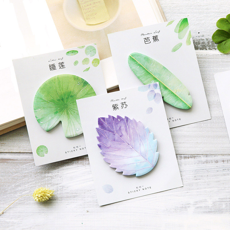 Cute Kawaii Natural Plant Leaf Sticky Note Memo Pad Post It Note Office Planner Sticker Paper Korean Stationery School Supplies