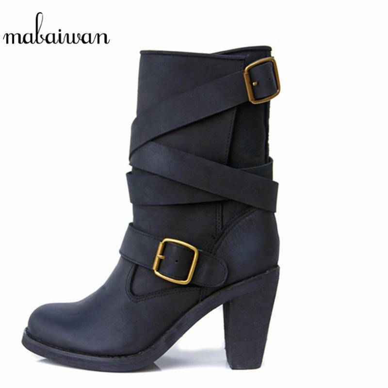 Mabaiwan New Fashion Genuine Leather Boots Zapatos Mujer Straps Women Mid-calf Boots Shoes Woman Chunky High Heel Martin Boots riding boots chunky heels platform faux pu leather round toe mid calf boots fashion cross straps 2017 new hot woman shoes