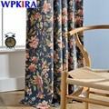Роскошные синие шторы с цветочным принтом для гостиной  полузатемненные шторы для спальни  белые тюлевые прозрачные драпированные WP099-30