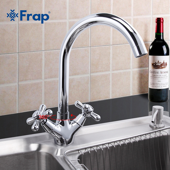 Frap Deck Mounted Brass Torneira Cozinha Kitchen Faucets Hot and Cold Water Chrome Basin Sink Taps Mixers Dual Handle F4025 - discount item  43% OFF Kitchen Fixture