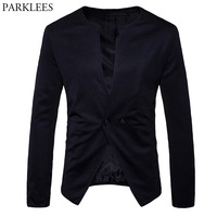 Brand Mens Black Double Breasted Suits Blazers Costume Veste Homme 2018 Spring New Slim Fit Casual