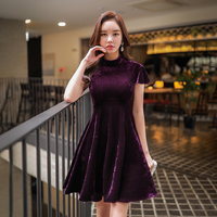 Dabuwawa Autumn Velvet Dress Women 2018 Elegant Party Dress office lady stand collar Date Mini Dress Dark Purple Ruffles Dress