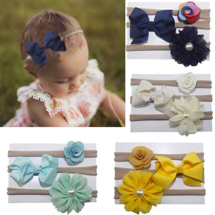 3Pcs Kids Elastic Floral Headband Pearl Hair Girls baby accessories Bowknot Hairband Set baby photography props  bebe 0718