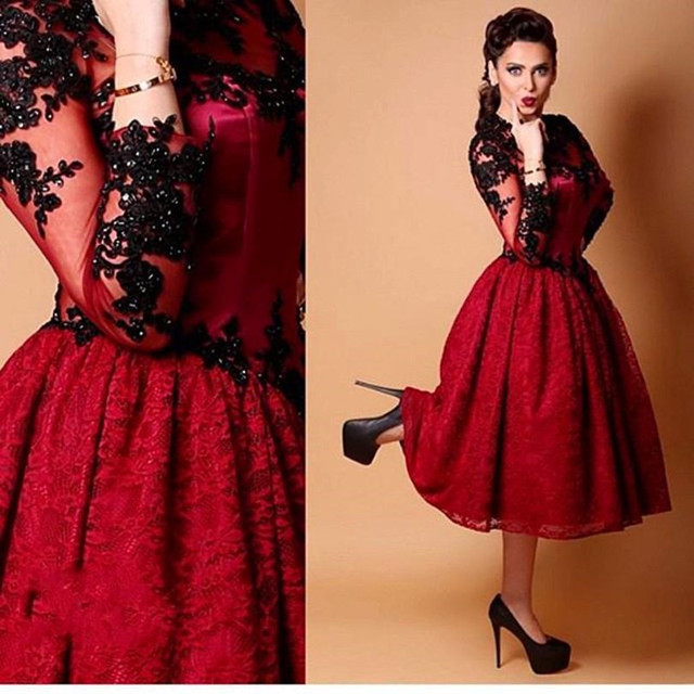 Charming Burgundy Prom Dresses Lace Appliques Beaded Long Sleeve ...