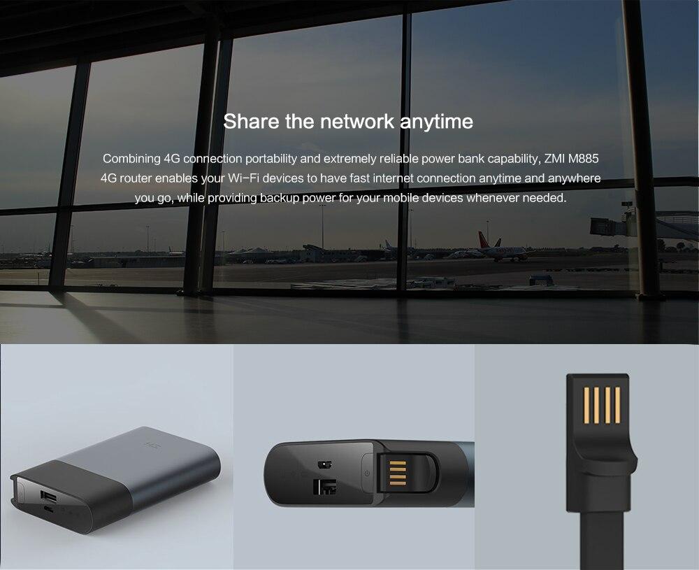 XIAOMI ZMI 4g wifi routeur puissance banque 3g 4g Mifi mobile hotspot avec 10000 mah QC2.0 rapide charge batterie powerbank MF885 - 4
