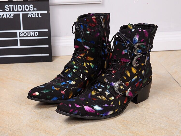 2018 Multi Colorful Feathers Print Pointed Toe Ankle Boots Men Front Lace Up Metal Buckle Boots Med Heel Mens Leather Shoes Boot fashion pointed toe lace up mens shoes western cowboy boots big yards 46 metal decoration page 10