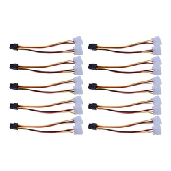 Promoção 10 pces molex 4 pinos para pci-e pci expess 6 pinos adaptador conversor de alimentação cabo conector fonte de alimentação