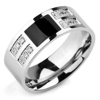 Men S Fashion Stainless Steel Enamel Ring Band CZ Silver Black Gold Classic Wedding Charm Elegant