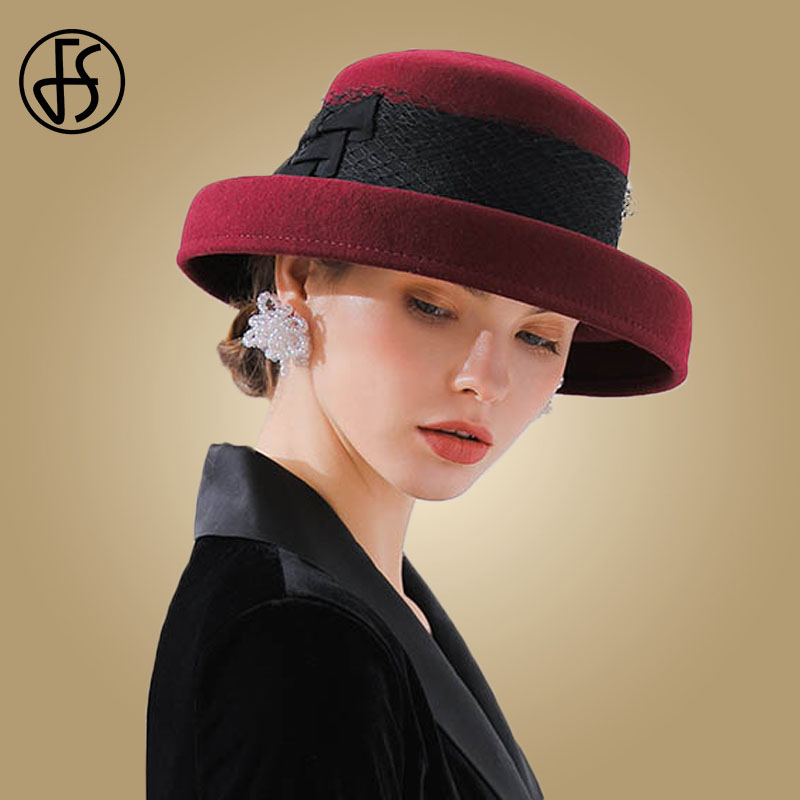 564f06d1cea Detail Feedback Questions about FS 2018 Wide Brim Hats Felt Women Wool  Fedora Hat Bowknot Church Cloche Female Wine Red Black Fedoras Vintage  Round Bowler ...