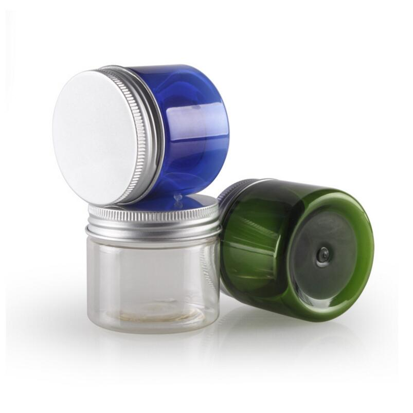 50g Transparent Plastic PET Jars With Aluminum Lid Blue Clear Empty Cosmetic Sample Jar With Lid LX1282
