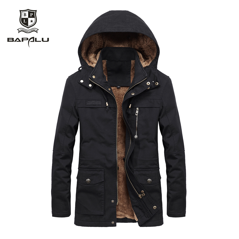 Autumn Winter Coat Men Plus Velvet Washed Casual Jacket Men's Long Windbreaker Parka Hooded Coats Masculinas Roupas Jaqueta