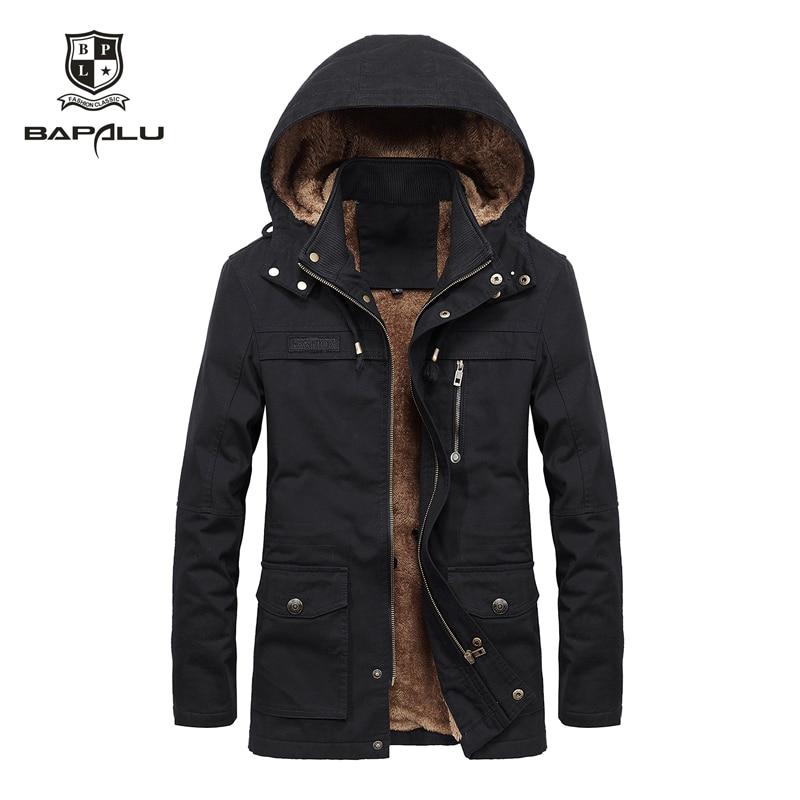 Autumn winter new jacket men's plus velvet washed casual jacket men's long windbreaker Hooded jacket   coat   large size M-4XL 5XL