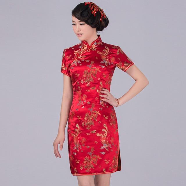 7ec1c0a0a Red Traditional Chinese Classic Dress Mujere Vestido Women's Satin Cheongsam  Mini Qipao Size S M L XL XXL XXXL 4XL 5XL 6XL
