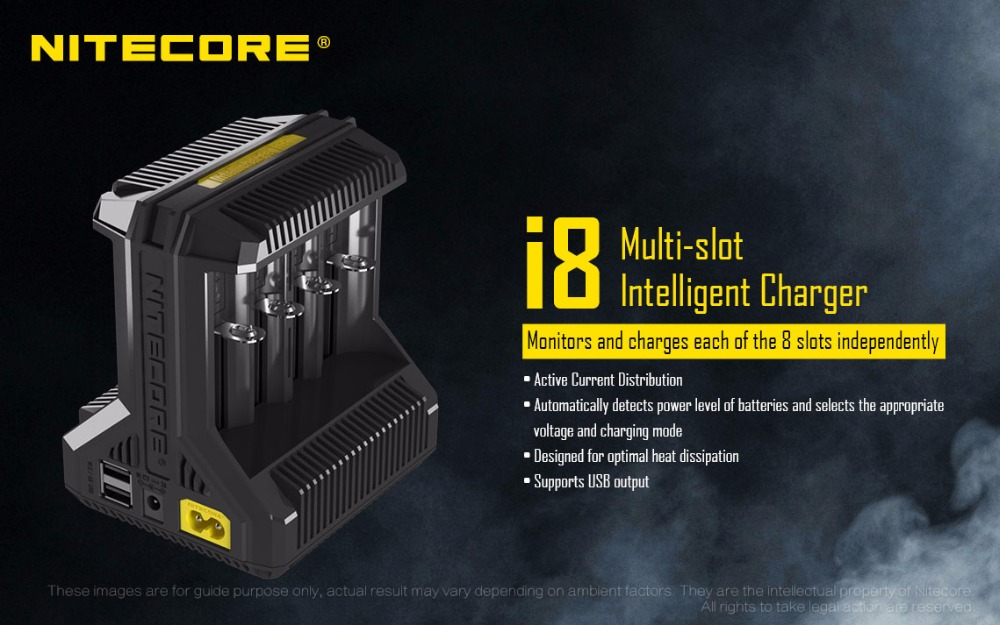 Nitecore i8 chargeur Intelligent 8 emplacements Total 4A sortie chargeur Intelligent pour IMR18650 16340 10440 AA AAA 14500 26650 et dispositif USB-in Chargeurs from Electronique    2