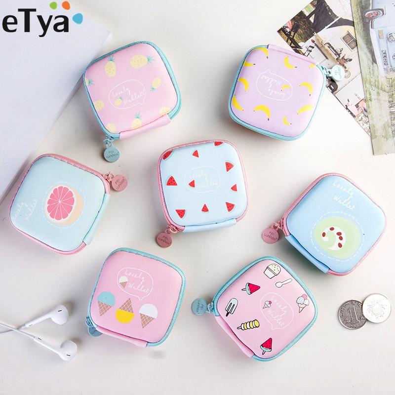 ETya Cartoon Cute Fruit Coin Bag Zipper Fruit Coin Case Purse Mini Wallet  Girl Earphone Storage Bag