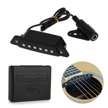 Durable Black Soundhole Pickup With Active Power Jack for Acoustic Guitar
