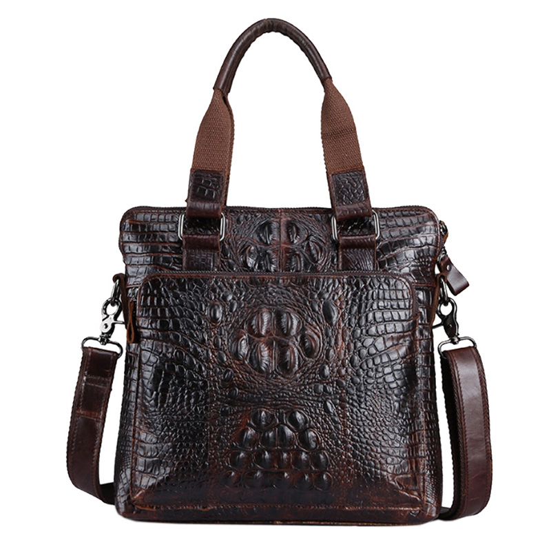 Men s Leather Cowhide Crocodile Grain Pattern Business Handbag Briefcase Messenger Shoulder Bag Handbags