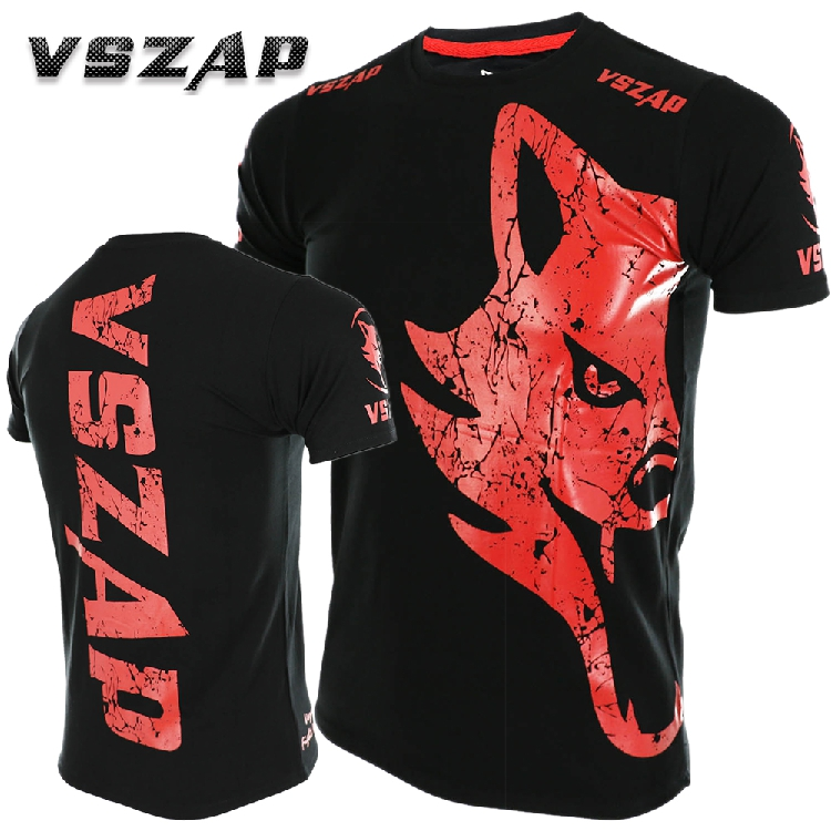 VSZAP GIANT Short Sleeved T-shirt MMA Fighting Martial Arts Wind  Thai Boxing Wolf Fighting Sports Fitness Men Sanda