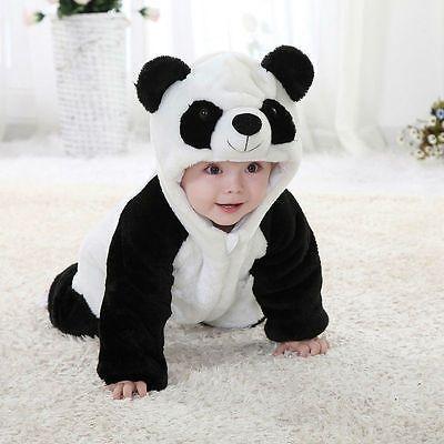 Newborn Baby Boys Girls Panda One Piece Long Sleeve Cotton Rompers Clothing Set